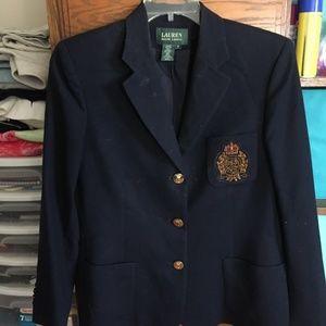 Vintage Ralph Lauren Blue Crest Blazer Size 12